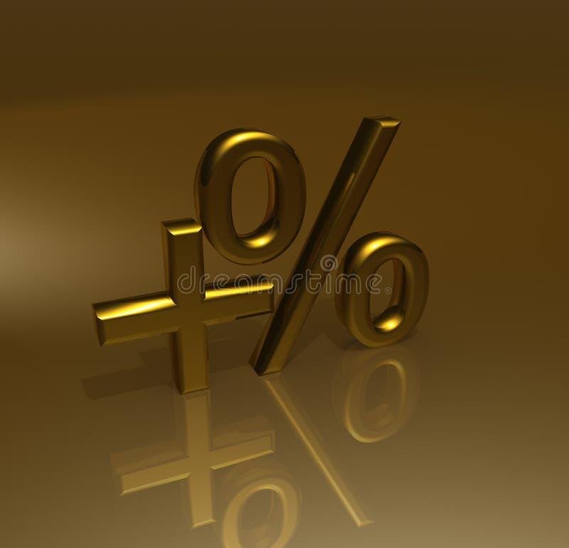 ökande procentsats för guld stock illustrationer