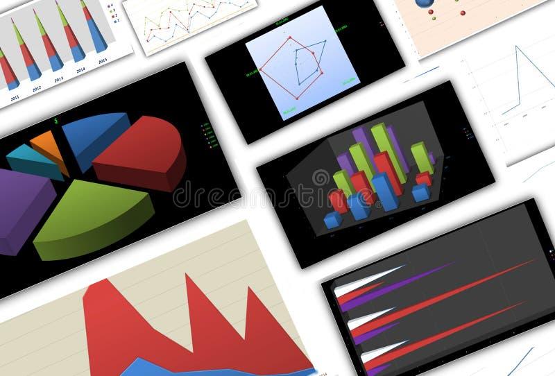 ökande tillväxt för grafer för affärsdiagram gagnar hastigheter royaltyfri illustrationer