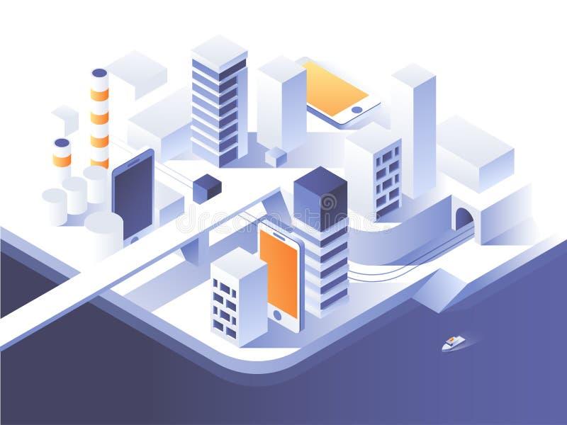 Ökat verklighetbegrepp Smart stadsteknologi Enkel låg poly arkitektur isometrisk illustration för vektor 3d vektor illustrationer
