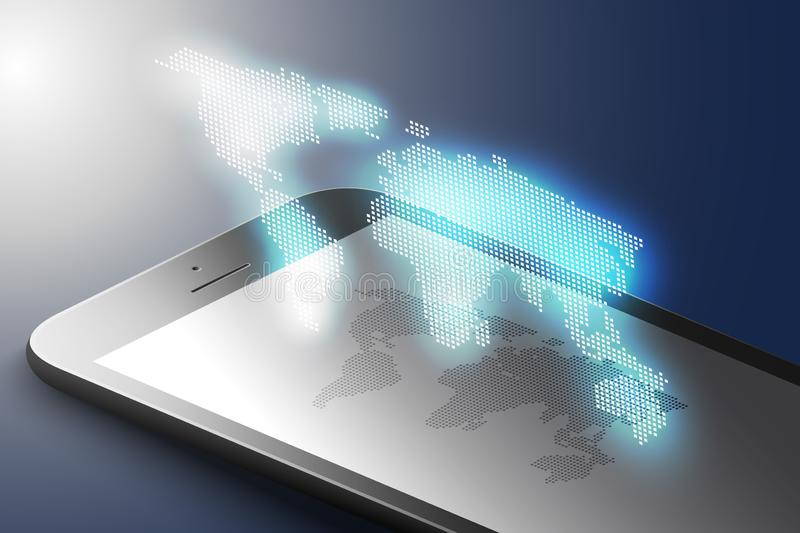 Ökat verklighetmarknadsföringsbegrepp Smart telefon för svart färg med världskartan Ar-applikationbakgrund vektor 3d vektor illustrationer