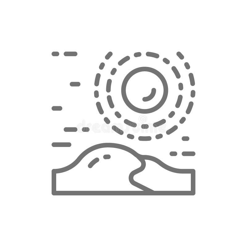 Öken dyn, sandig landskaplinje symbol royaltyfri illustrationer