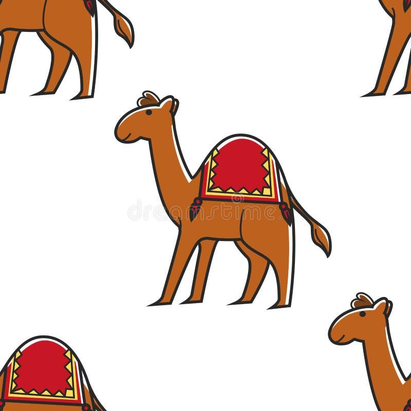 Öken för symbol för djur sömlös modell för kamel egyptisk vektor illustrationer