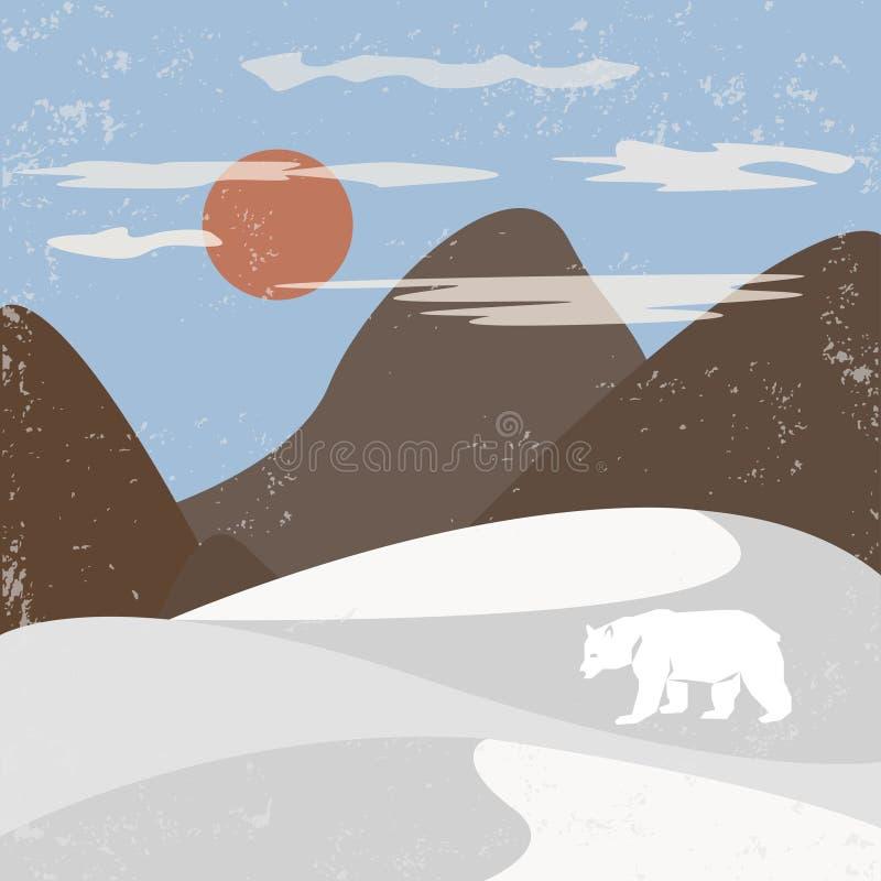 Öken med berg stock illustrationer