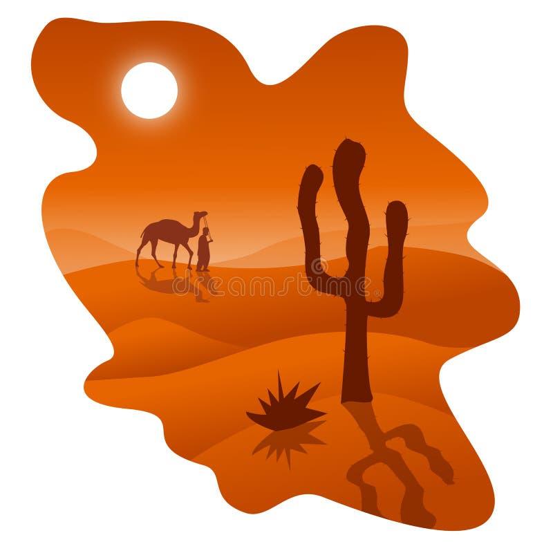 Öken med kamlet och kaktuns stock illustrationer