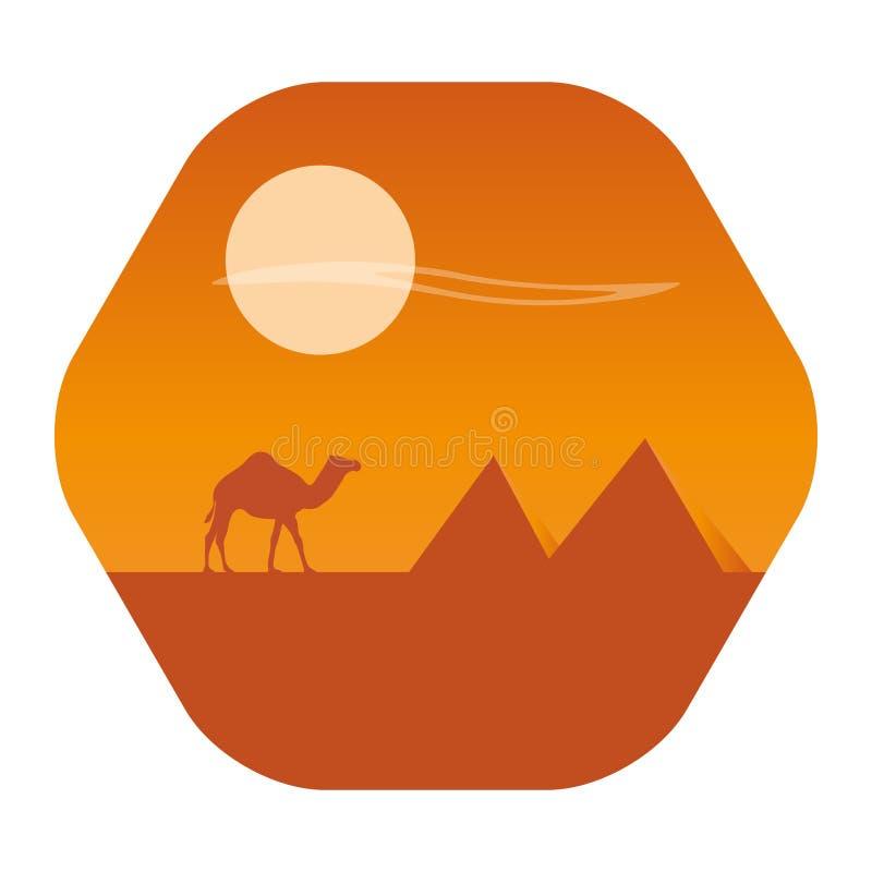 Öken med pyramidlandskap Kamelhusvagn på öken på solnedgången på en bakgrund stock illustrationer