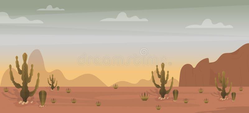 Ökenbakgrundsvektor stock illustrationer