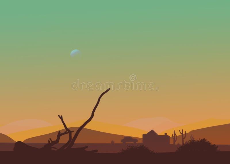 Ökeneftermiddag eller solnedgång för tecknad film västra Måne i himlen, kaktus, koja, bil, torr filial royaltyfria bilder