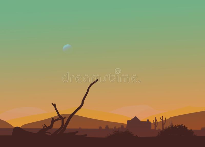 Ökeneftermiddag eller solnedgång för tecknad film västra Måne i himlen, kaktus, koja, torr filial fotografering för bildbyråer