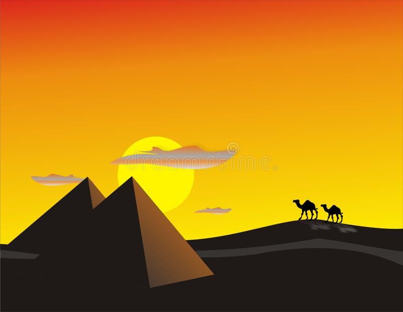 ökenegypt solnedgång royaltyfri illustrationer