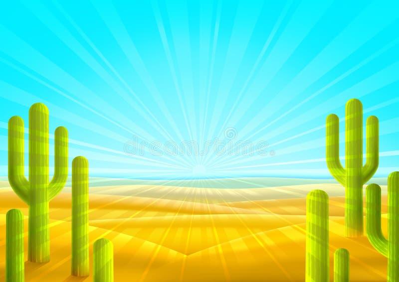 ökenlandskap stock illustrationer