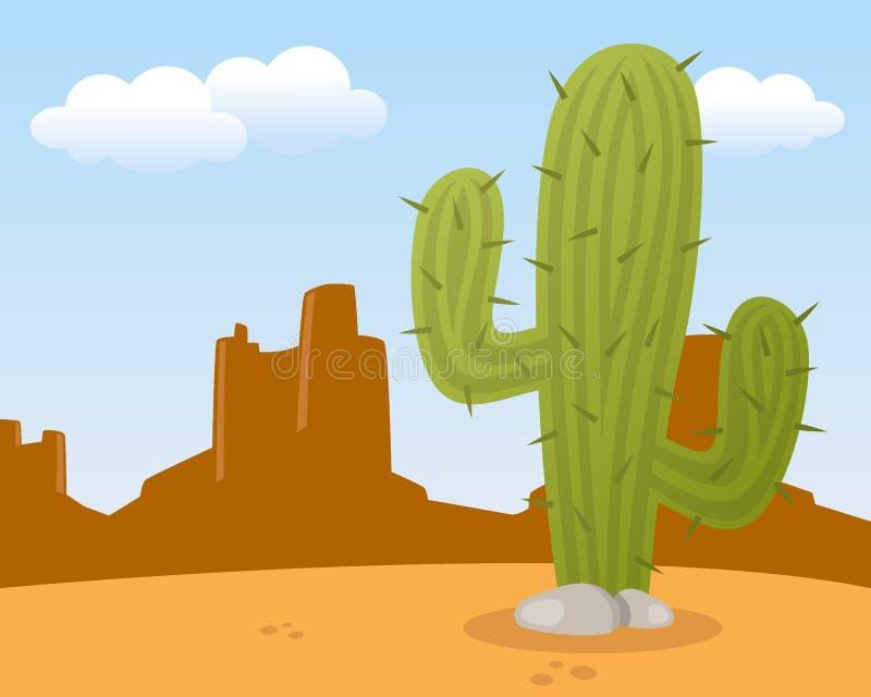 Ökenlandskap med kaktuns vektor illustrationer