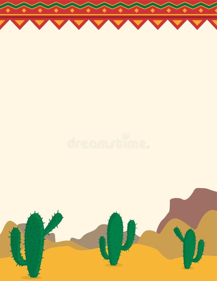 Ökenlandskap med mexikansk themed bakgrund för kakturs stock illustrationer