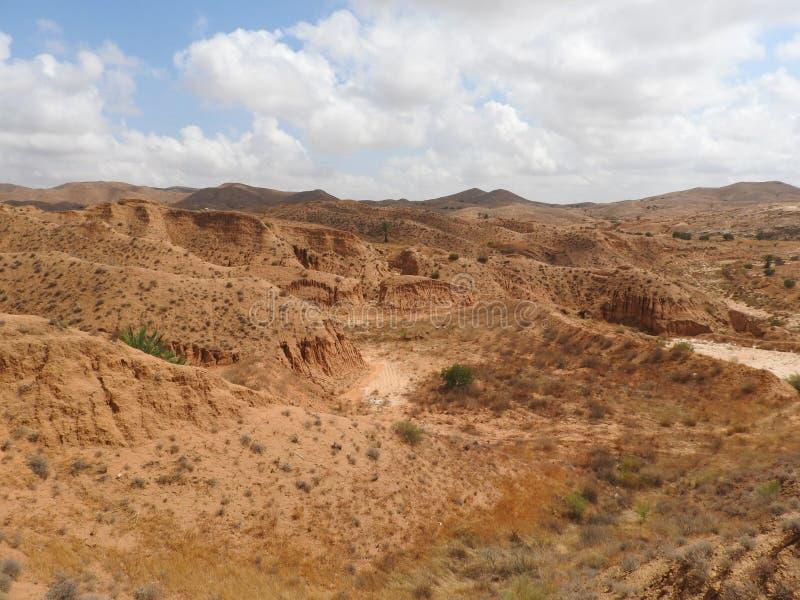 Ökenlandskap och klar himmel nära Matmata i sydliga Tunisien, Nordafrika royaltyfria foton