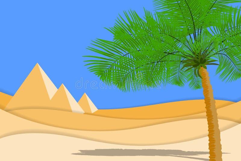 Ökenlandskapet med gömma i handflatan, sandöknen och pyramider Papperssnittet formar och lager som ökendesignen vektor illustrationer