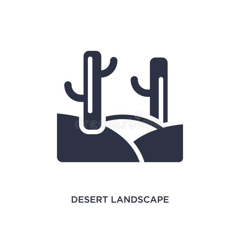 ökenlandskapsymbol på vit bakgrund Enkel beståndsdelillustration från ökenbegrepp stock illustrationer