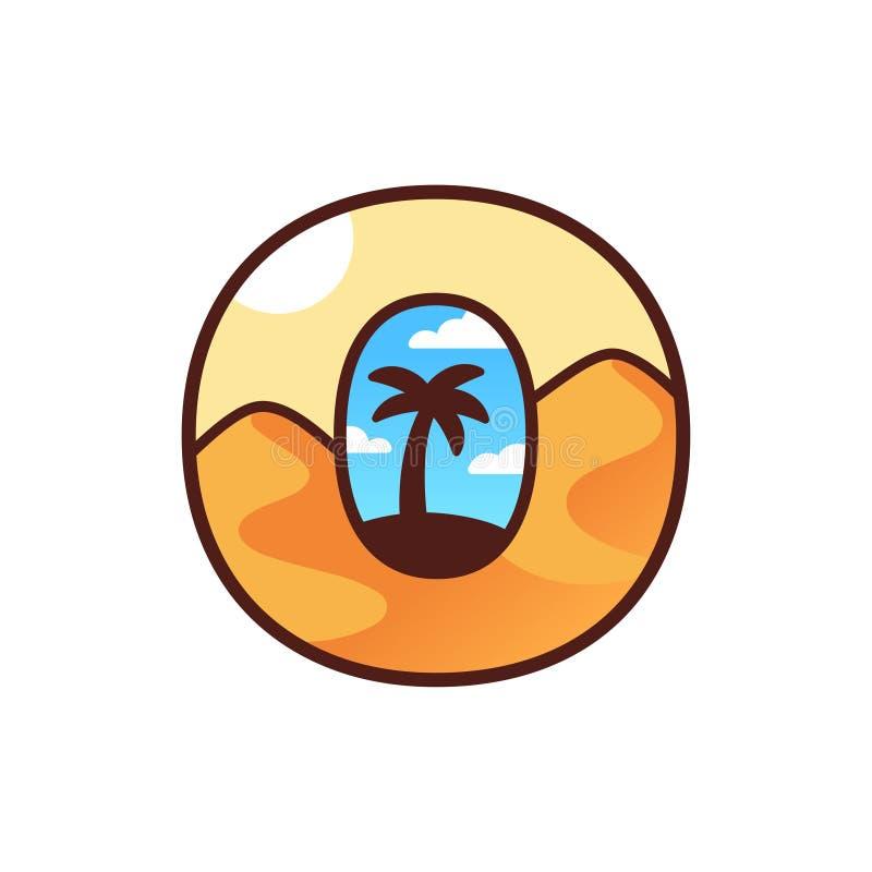 Ökenoaslogo med palmträdet stock illustrationer
