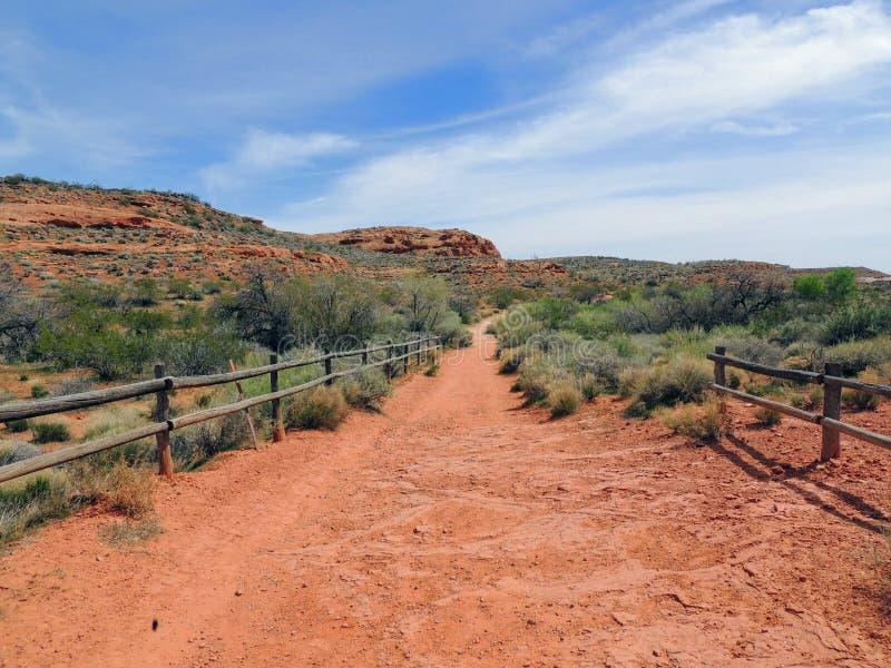 Ökenpanoramautsikter från att fotvandra skuggar runt om St George Utah runt om Beck Hill, Chuckwalla, sköldpaddaväggen, paradiska royaltyfri bild