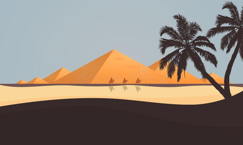 Ökensikt av de egyptiska pyramiderna stock illustrationer