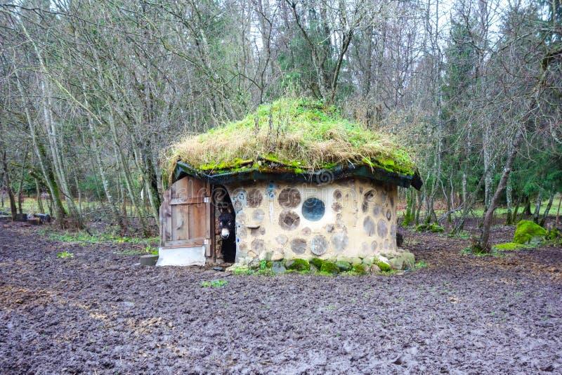 Öko-Haus gemacht mit natürlichen Materialien in Estland mit Esel lizenzfreies stockbild