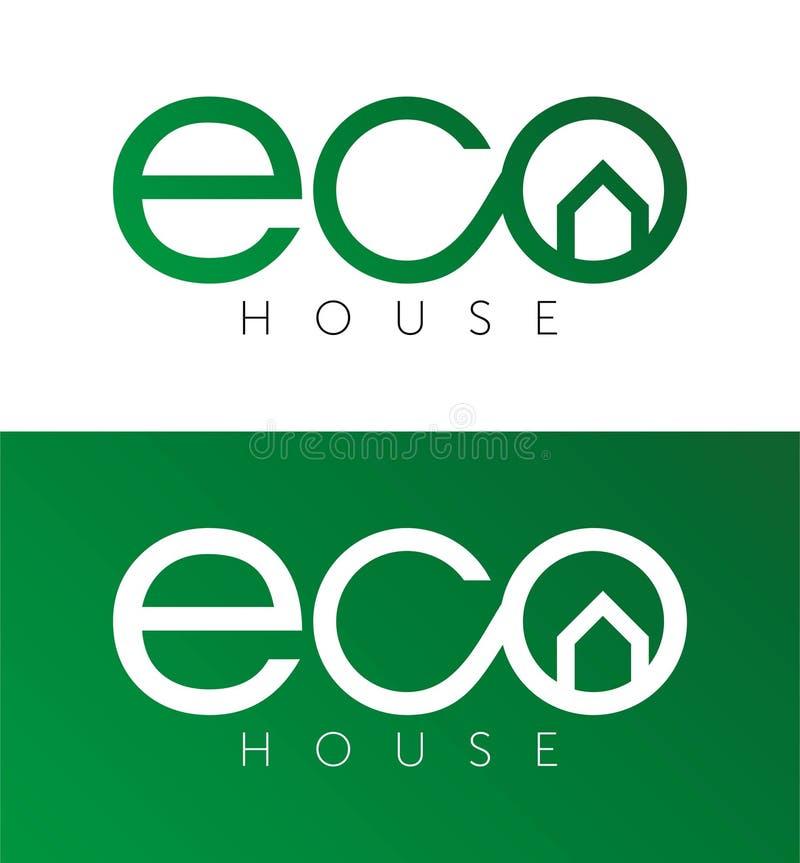 Öko-Haus, Hauslogo, Hauptfirmenzeichen, eco, Grün, Vektorschablone stock abbildung