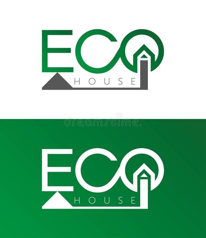 Öko-Haus, Hauslogo, Hauptfirmenzeichen, eco, Grün, Vektorschablone lizenzfreie abbildung