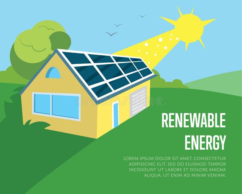 Download Öko Haus Mit Blauen Sonnenkollektoren Auf Dem Dach Vektor  Abbildung   Illustration Von Elektrizität