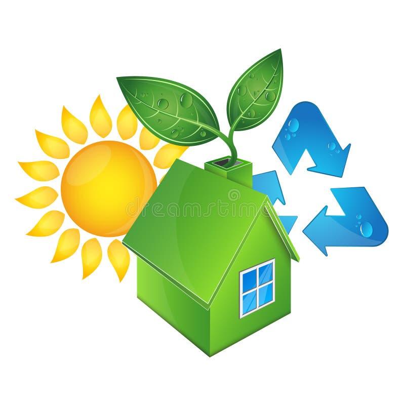 Öko-Haus und Sonne stock abbildung