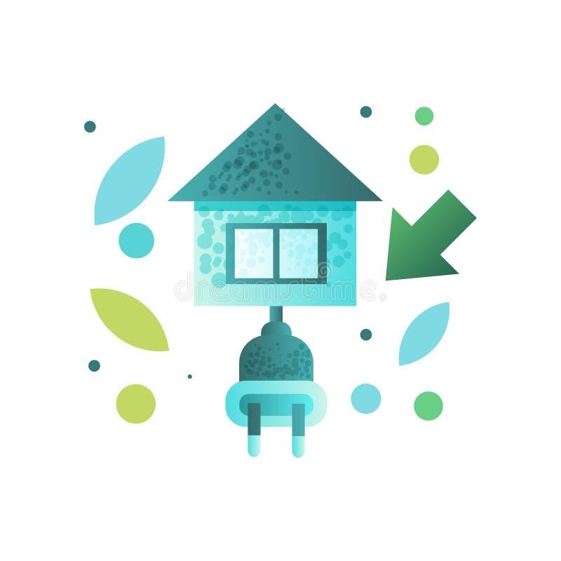 Öko-Haus, zeitgenössische Energiesparende Gebäudevektor Illustration auf einem weißen Hintergrund stock abbildung