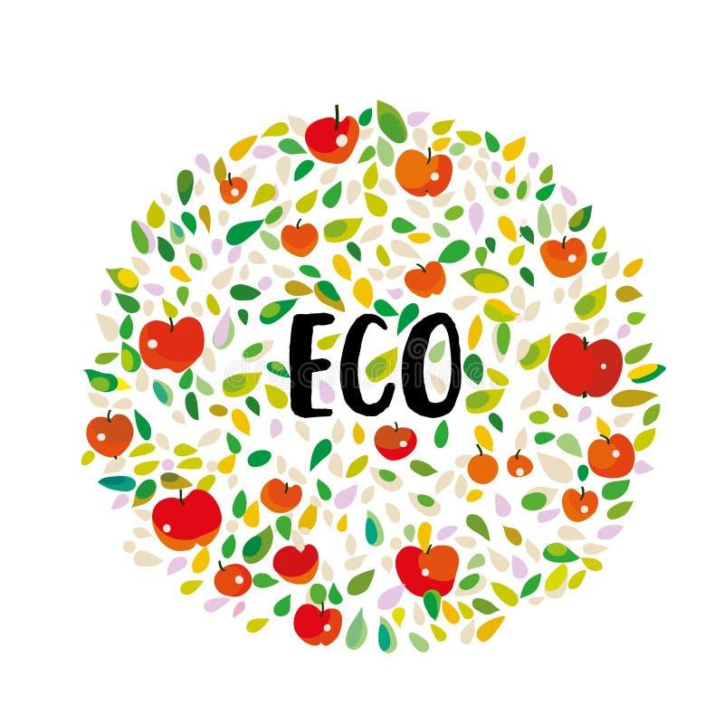 Öko-Poster mit Äpfeln und Blättern Vector-Illustration vektor abbildung