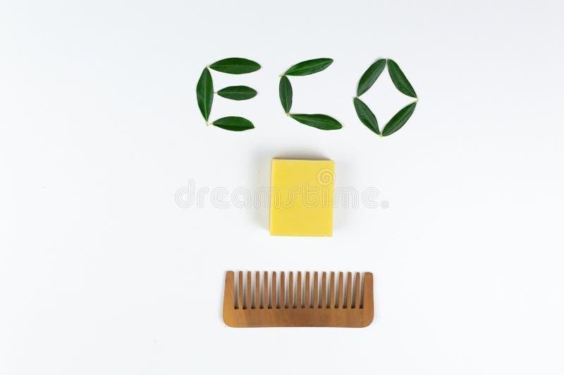 Öko-Seife und -Seifen, aus biologischem Anbau, sowie feste Shampoo-Bars lizenzfreies stockfoto