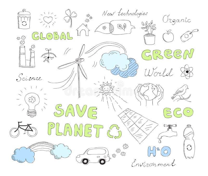 Ökologie kritzelt Vektorelementsatz lizenzfreie abbildung