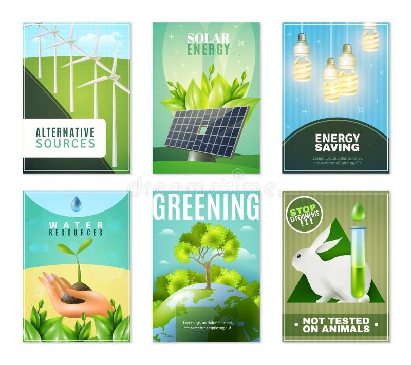 Ökologie 6 Mini Banners Collection lizenzfreie abbildung