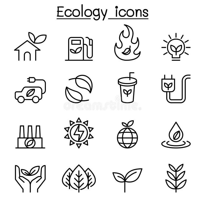 Ökologie u. nachhaltige Lebensstilikone stellten in dünne Linie Art ein lizenzfreie abbildung