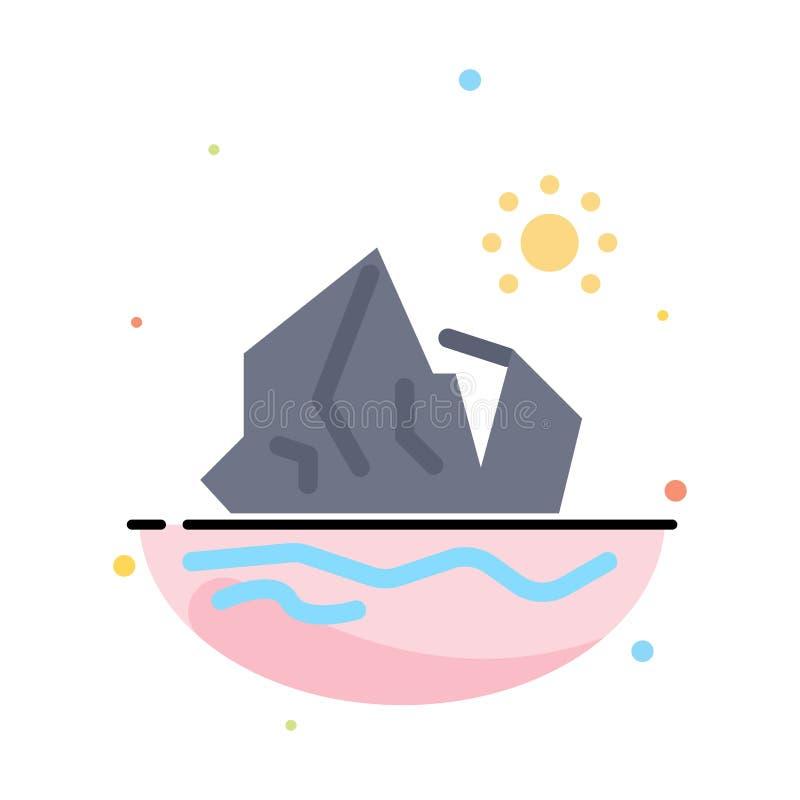 Ökologie, Umwelt, Eis, Eisberg, schmelzende abstrakte flache Farbikonen-Schablone stock abbildung