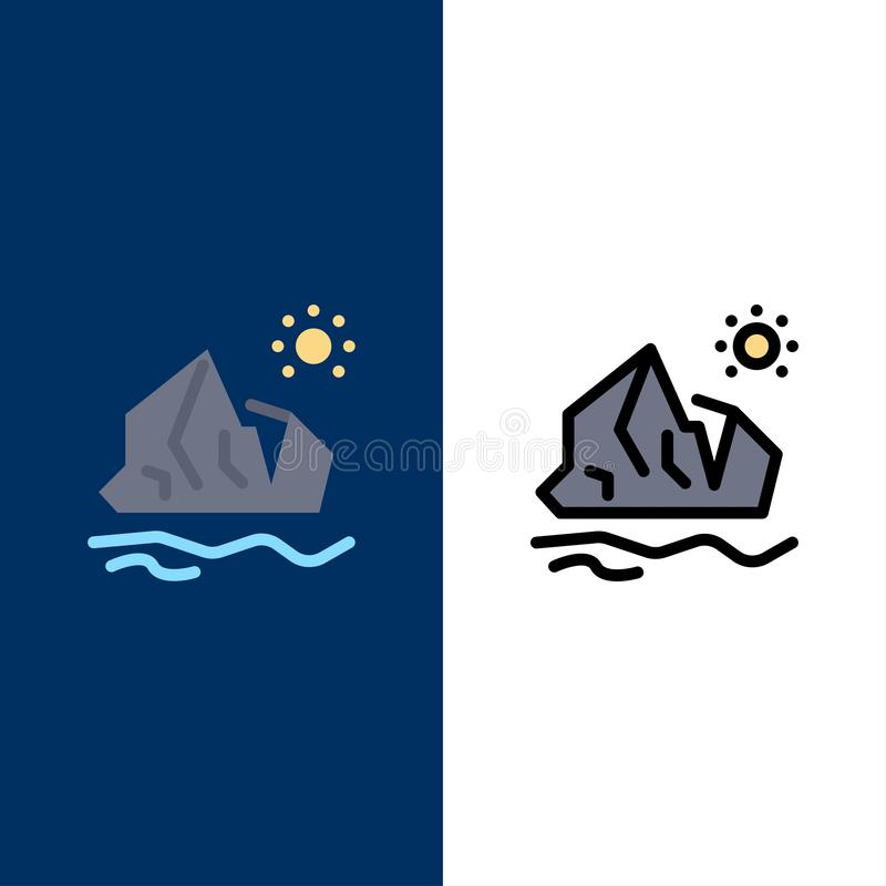 Ökologie, Umwelt, Eis, Eisberg, schmelzende Ikonen Ebene und Linie gefüllte Ikone stellten Vektor-blauen Hintergrund ein stock abbildung