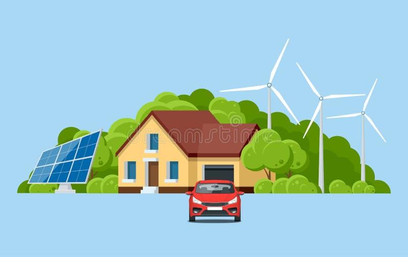 Ökologie und Umwelterhaltung mit Naturkonzept Grünes freundliches modernes Haus der Energie und des eco auf Berg lizenzfreie abbildung