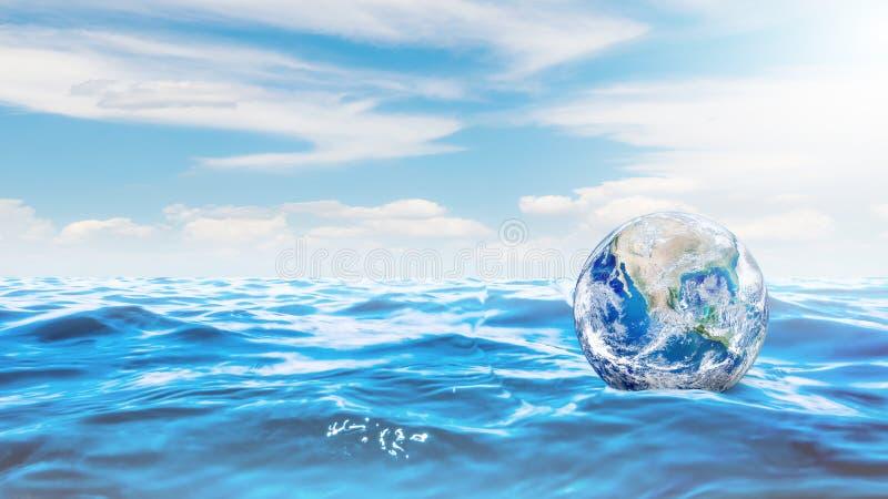 Ökologie-und Verschmutzungs-Konzept: Blaue Planetenerdkugel, die auf blaues Wasser schwimmt vektor abbildung
