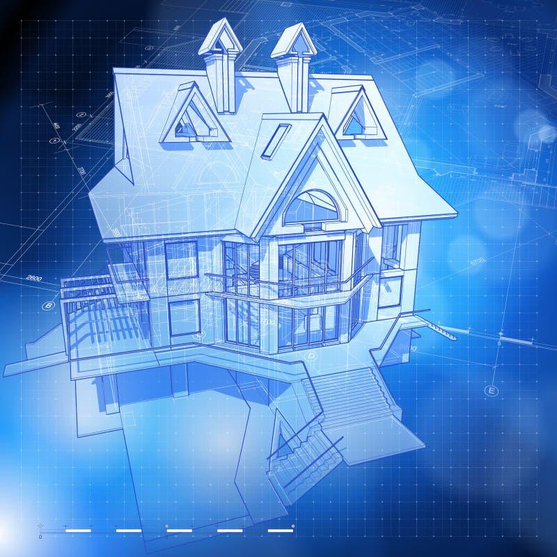Ökologiearchitekturauslegung: Haus, Pläne lizenzfreie abbildung