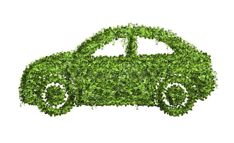 Ökologieauto-Konzept des Entwurfes von vielen grünes Blatt lizenzfreie abbildung