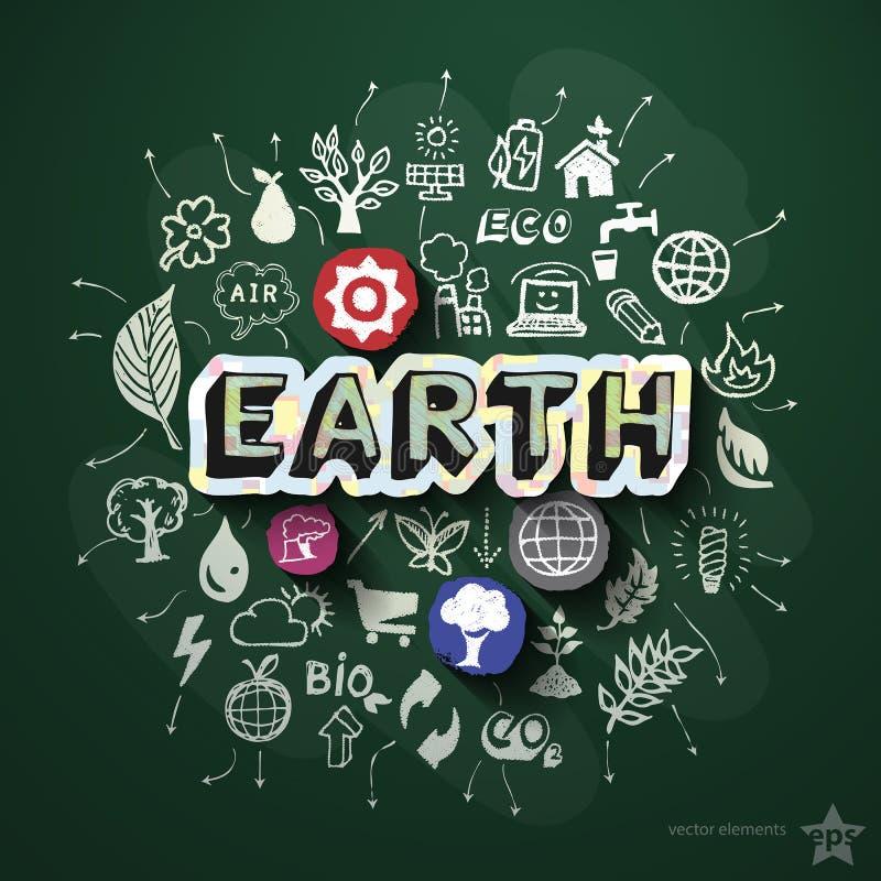 Ökologiecollage mit Ikonen auf Tafel vektor abbildung