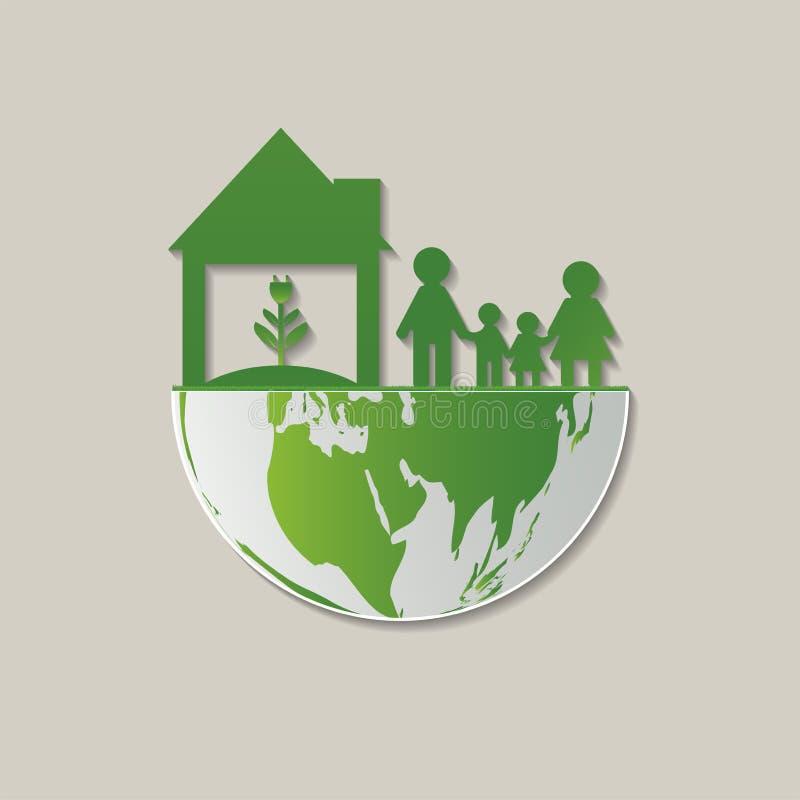 Ökologiefamilienabwehr das Weltkonzept Hilfe des umweltgerechten Hauses die Welt mit umweltfreundlicher Idee Abbildung stock abbildung
