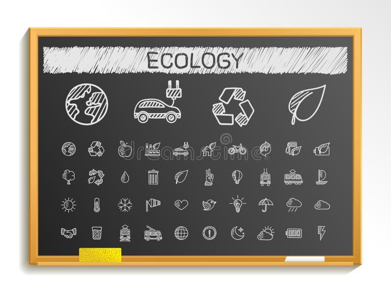Ökologiehandzeichnungslinie Ikonen Kreideskizzen-Zeichenillustration auf Tafel stock abbildung