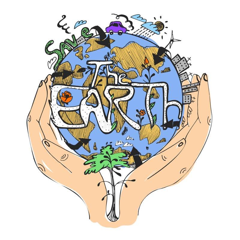 Ökologiekonzeptplakat Kugel in den Händen Symbol des Interessierens für die Umwelt Vektorabbildung, getrennt auf Weiß stock abbildung