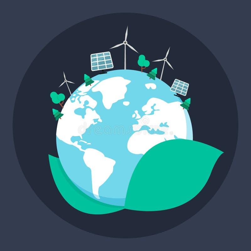 Ökologiesorgfaltkonzept Öko-Planetenikone Das Konzept des Ökologieproblems, der grünen Energie und des alternativen Brennstoffs,  vektor abbildung