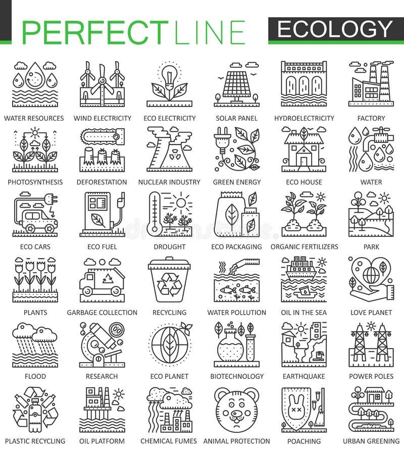 Ökologietechnologieentwurfs-Konzeptsymbole Perfekte dünne Linie Ikonen Lineare Artillustrationen des modernen Anschlags eingestel lizenzfreie abbildung