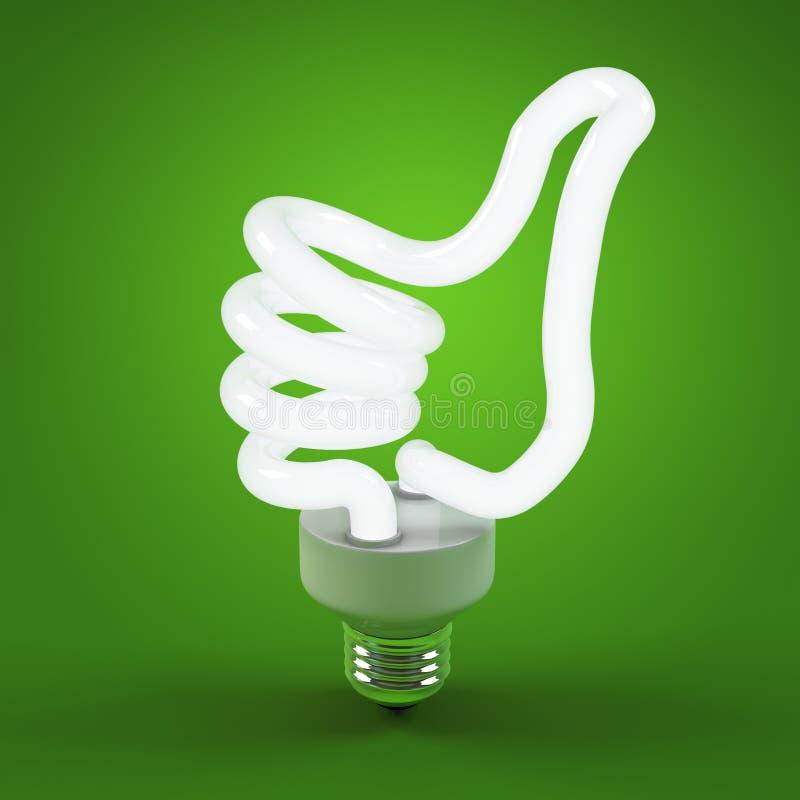 Ökologieumwelt und Einsparungsenergie, Glühlampekonzept des erfolgreichen Geschäfts Daumen herauf Zeichengestenhandlampenbirne stockbild