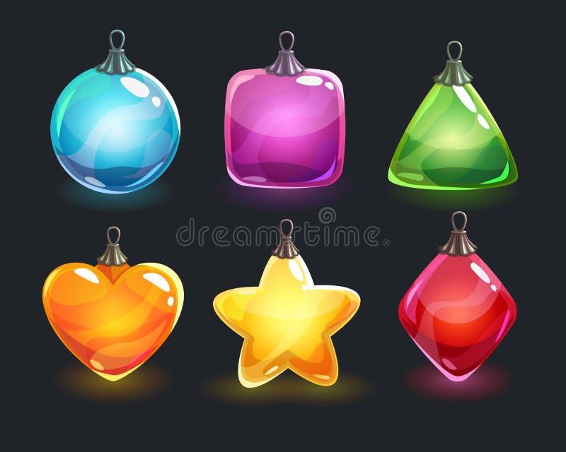 Ökologische, hölzerne Weihnachtsdekorationen Festliche bunte glatte glänzende Spielwaren des neuen Jahres stock abbildung