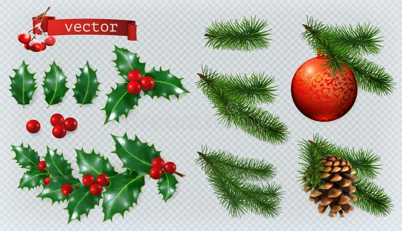 Ökologische, hölzerne Weihnachtsdekorationen Ikonensatz des Vektors 3d vektor abbildung
