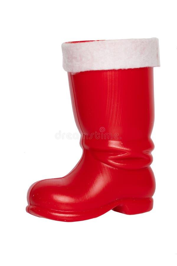 Ökologische, hölzerne Weihnachtsdekorationen Roter Weihnachtsstiefel oder Santa Claus-Stiefel I lizenzfreies stockbild
