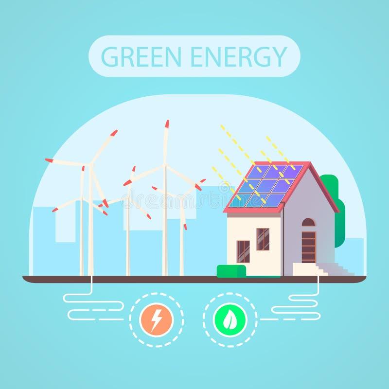 Ökologisches Haus und grünes Energiekonzept lizenzfreie abbildung